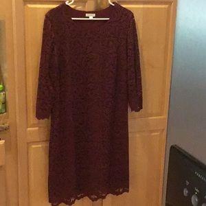 Garnet Hill lace dress - wine color